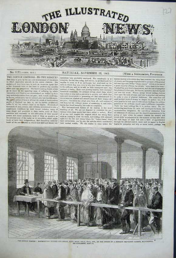 Print 1862 Cotton Famine Tickets Office Provident Manchester 127N114 Old Original