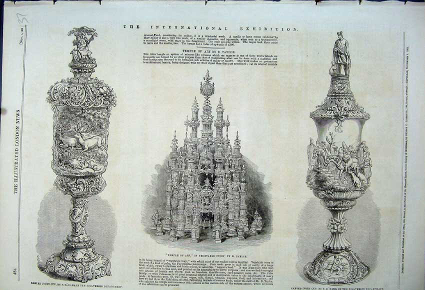 Print 1862 Temple Art Carved Ivory Cup Bohler Zollverein 137N114 Old Original