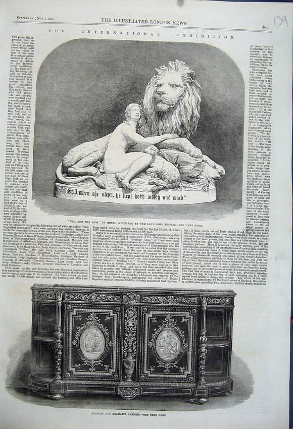 Print 1862 Jackson Graham Cabinet Una Lion Metal John Thomas 139N114 Old Original