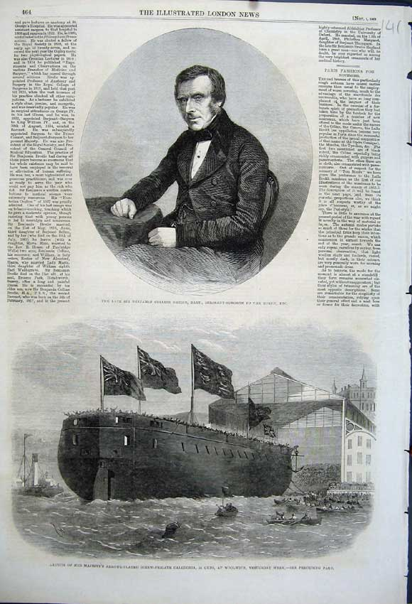 Print 1862 Benjamin Brodie Surgeon Caledonia Woolwich Ship 141N114 Old Original