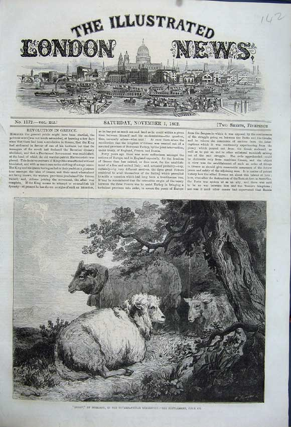 Print 1862 Country Sheep Morland International Exhibition 142N114 Old Original