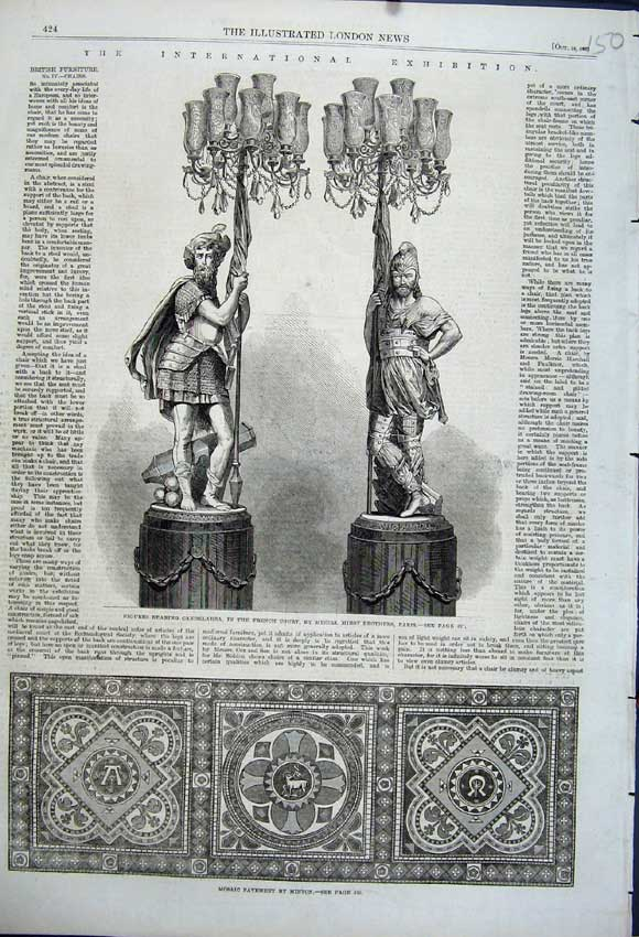 Print Mosaic Pavement Minton 1862 Figures Candelabra French 150N114 Old Original