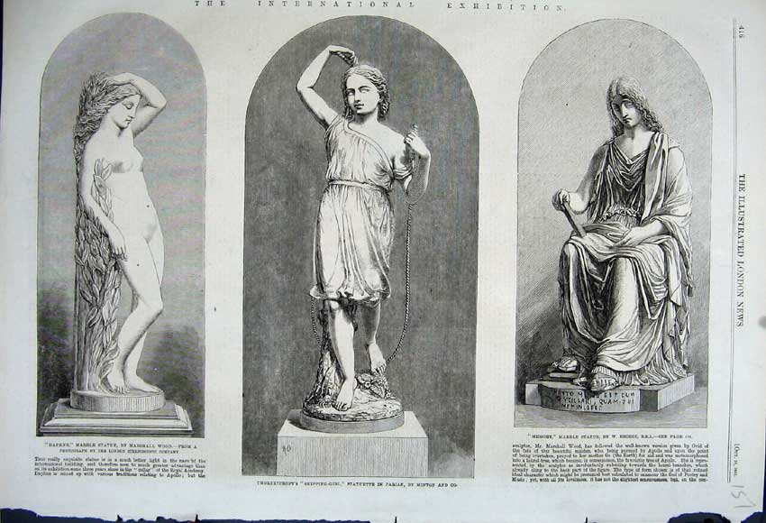 Print 1862 Statue Skipping Girl Minton Daphne Marble Memory 151N114 Old Original