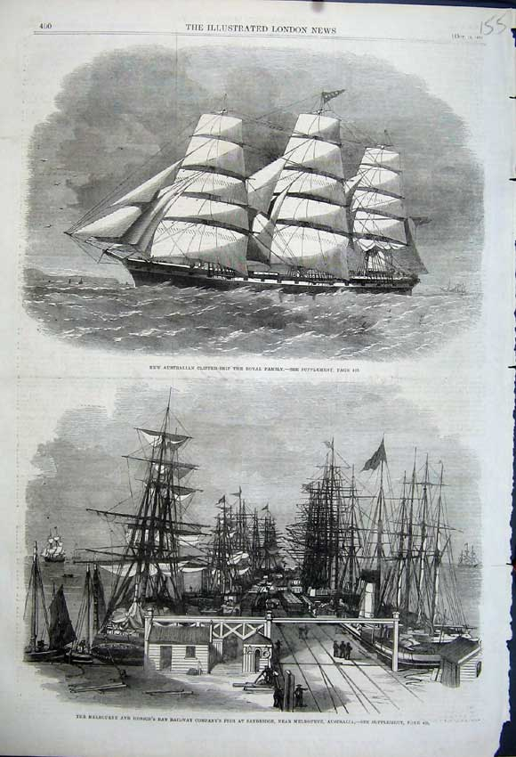 Print 1862 Hobson Pier Sandridge Australia Royal Family Ship 155N114 Old Original
