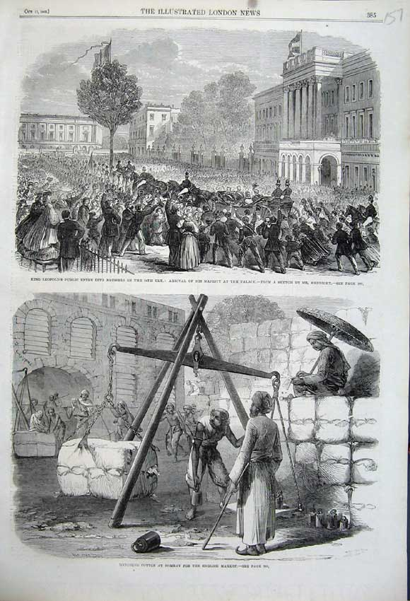 Print 1862 Weighing Cotton Bombay King LeopBrussels 157N114 Old Original