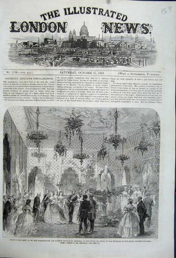 Print 1862 Soiree Common Council Brussels Hotel Ville Party 159N114 Old Original