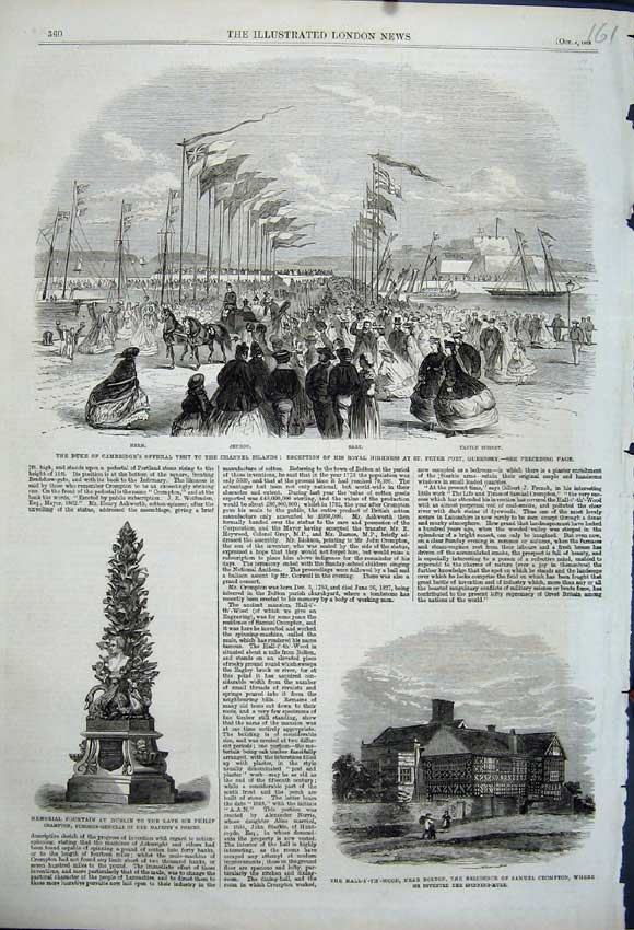 Print Duke Cambridge Channel Islands Memorial Fountain Dublin 161N114 Old Original