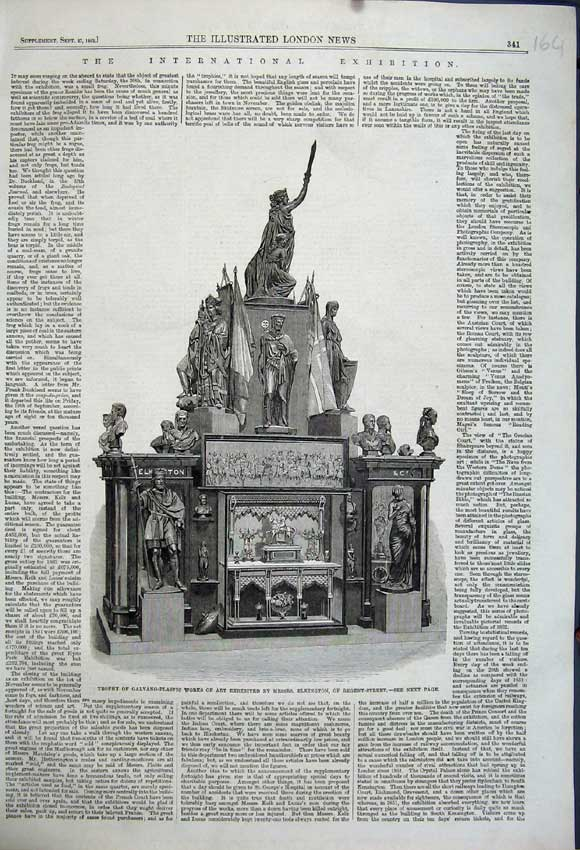 Print 1862 Trophy Galvano Plastic Works Art Elkington London 164N114 Old Original