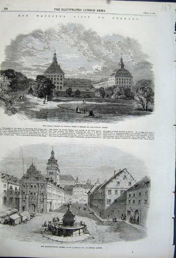 Print 1862 Market Place Gotha Ducal Palace Germany Queen 167N114 Old Original