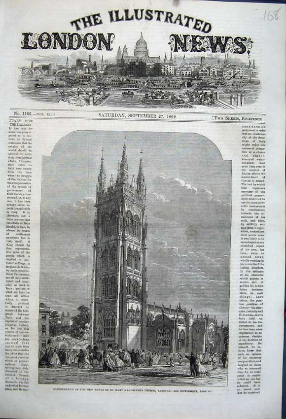 Print 1862 Inauguration Tower Mary Magdalene Church Taunton 168N114 Old Original