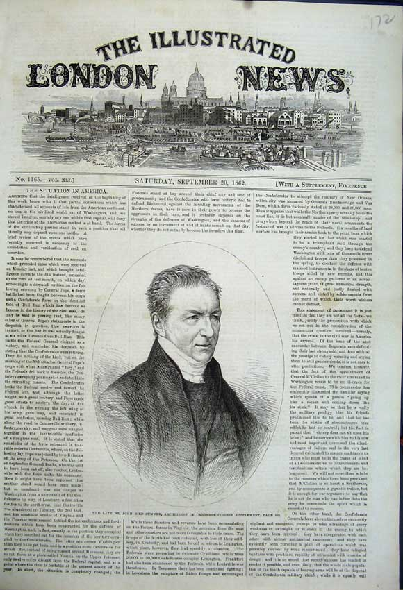 Print Portrait John Bird Sumner Archbishop Canterbury1862 172N114 Old Original
