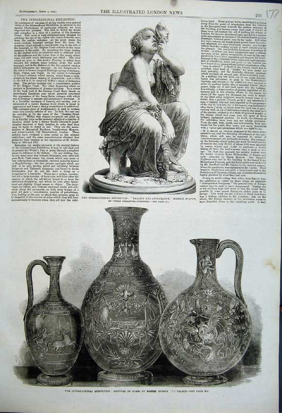 Print 1862 Articles Glass Vase Dobson Marble Statue Woman 177N114 Old Original