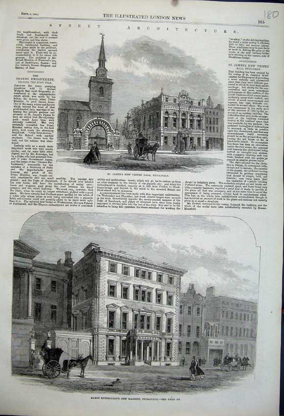 Print Baron Rothschild'S Mansion 1862 James'S Vestry London 180N114 Old Original