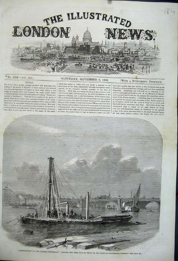 Print 1862 Thames Embankment Boat Duke Buccleuch'S Mansion 184N114 Old Original