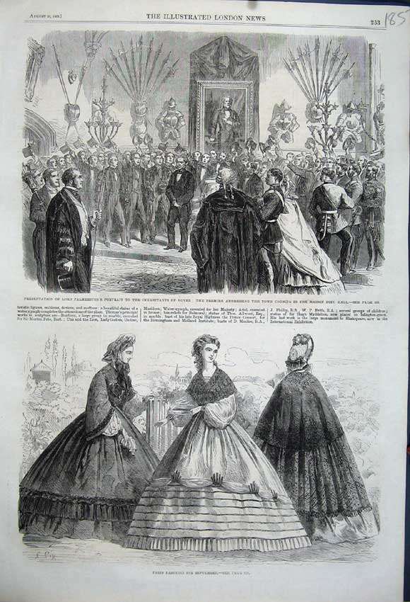 Print 1862 Paris Fashion Lord Palmerston Portrait Dover Dieu 185N114 Old Original