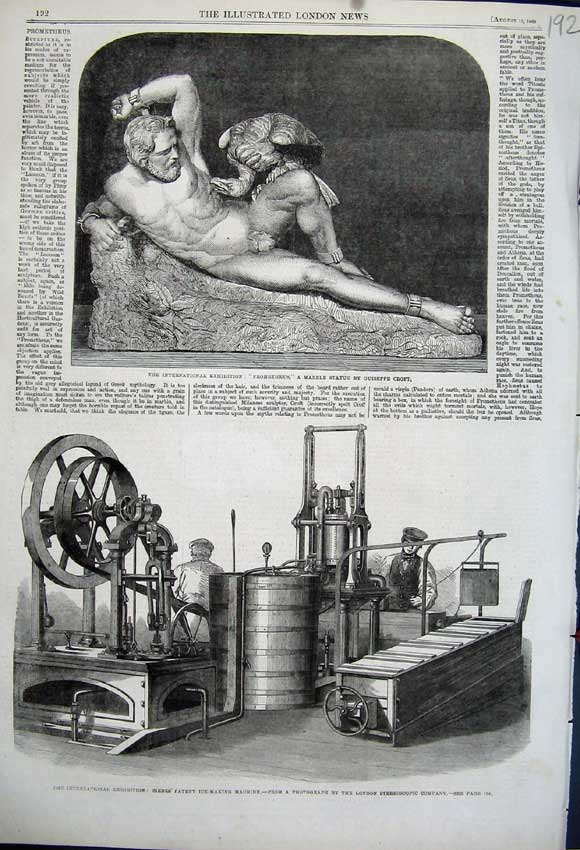 Print 1862 Marble Statue Siebe'S Patent Ice Making Machine 192N114 Old Original