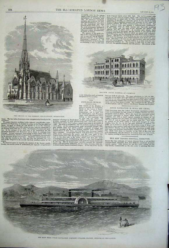 Print 1862 India Ship Stanley Church Messiah Cancer Hospital 193N114 Old Original