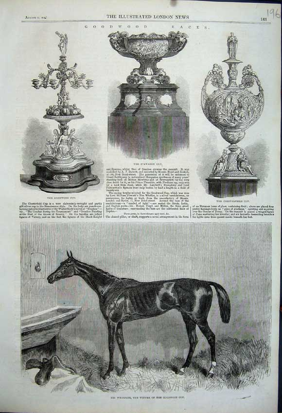 Print 1862 Horse Whiffler Goodwood Stewards Cup Chesterfield 196N114 Old Original