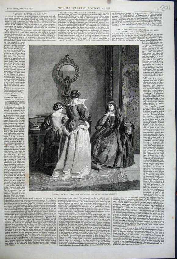 Print 1862 Women Nun Music Exhibition Royal Academy Art Clay 201N114 Old Original