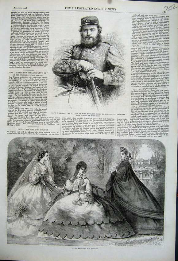Print Paris Fashion 1862 Captain Williams Earl Dudley Rifle 202N114 Old Original