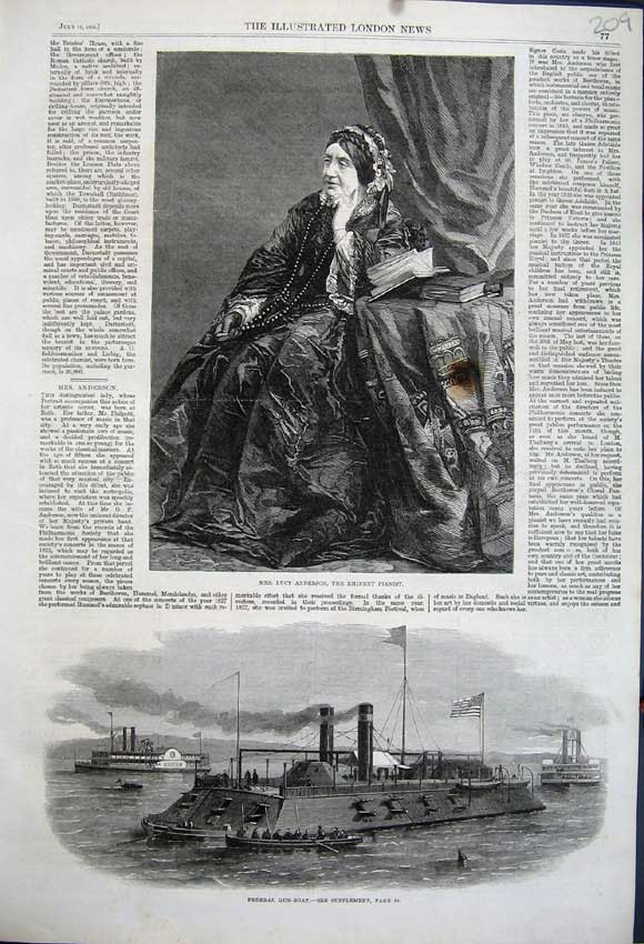 Print Lucy Anderson Eminent Pianist 1862 Federal Gun-Boat 209N114 Old Original