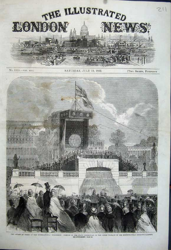 Print 1862 Horticultural Society Gardens State Ceremonial 211N114 Old Original
