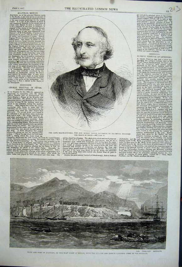 Print Major General Robert Bruce Fort Acapulco Mexico Ships 213N114 Old Original