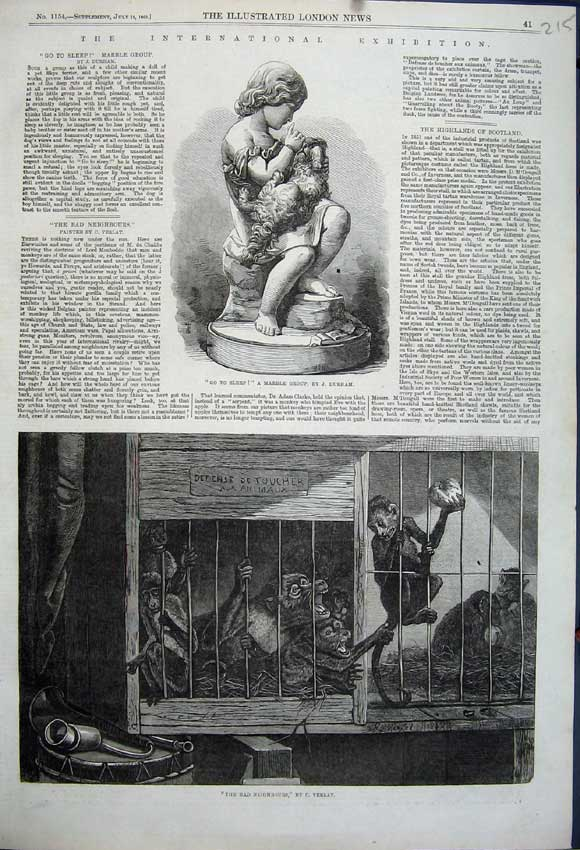 Print 1862 Monkeys Cages Animals Verlat Marble Statue Durham 215N114 Old Original