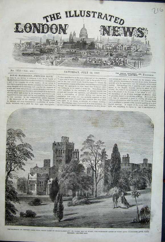 Print 1862 St Clare Isle Wight Castle Marriage Louis Alice 216N114 Old Original