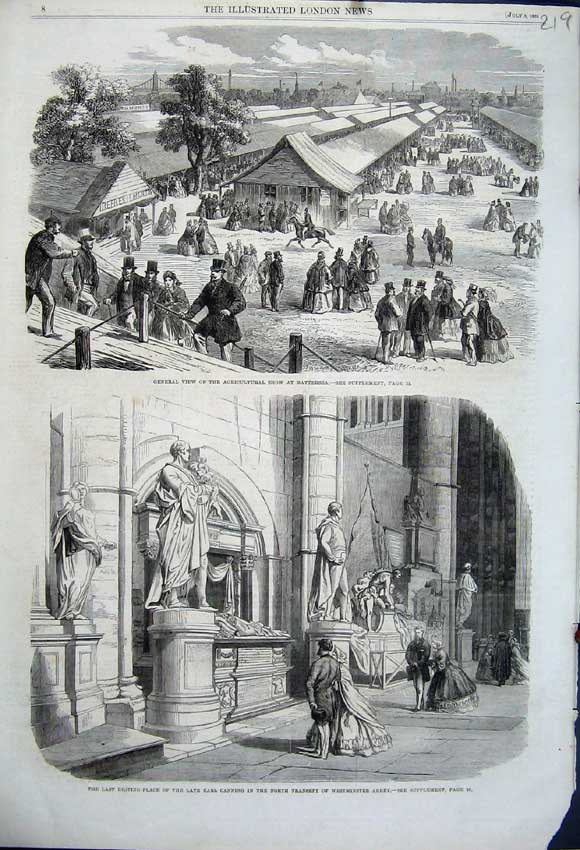 Print 1862 Earl Canning Westminster Abbey View Show Battersea 219N114 Old Original