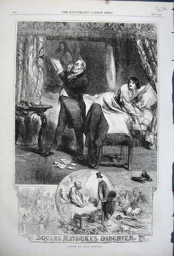 Print 1862 Squire Mayduke'S Daughter Bedoom John Gilbert 306N114 Old Original