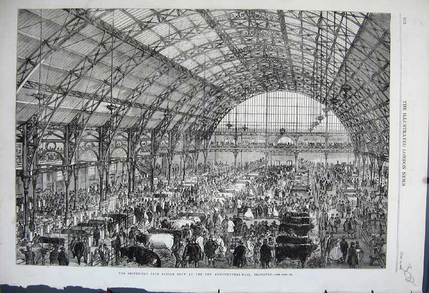 Print 1862 Smithfield Club Cattle Show Islington Agriculture 308N114 Old Original