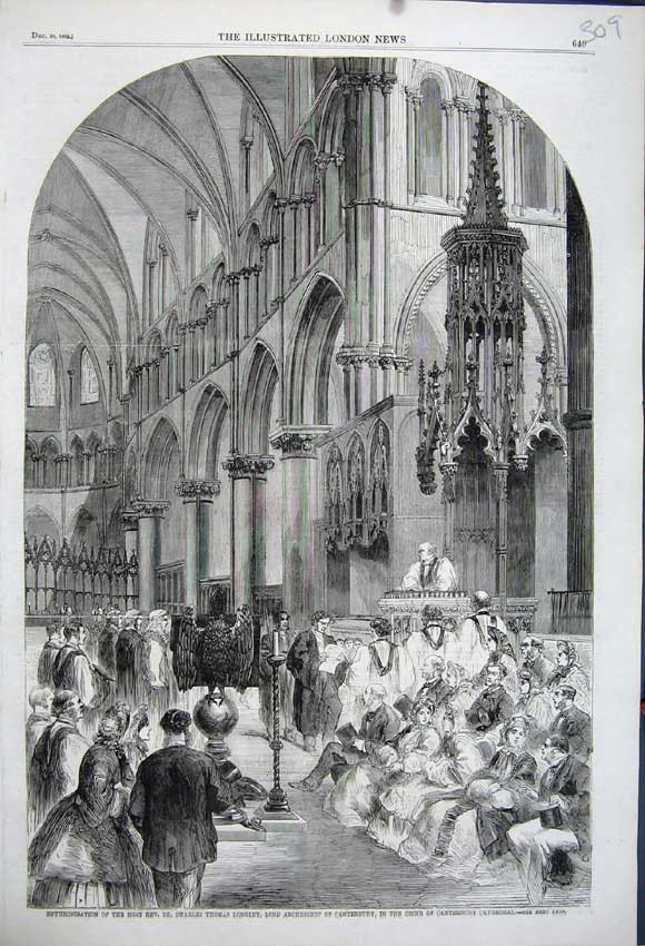 Print 1862 Enthronisation Thomas Archbishop Canterbury Choir 309N114 Old Original