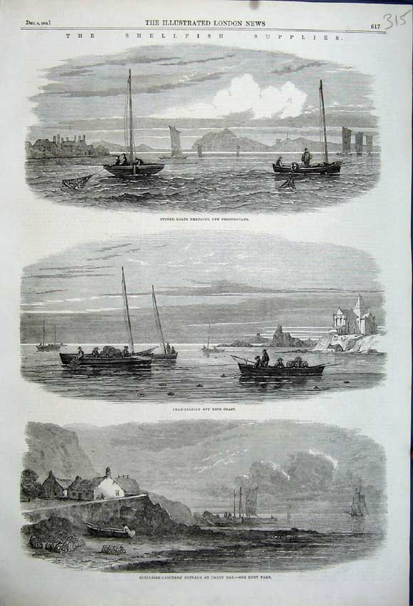 Print Shellfish Catchers Canty 1862 Crab Fishing Fife Oyster 315N114 Old Original