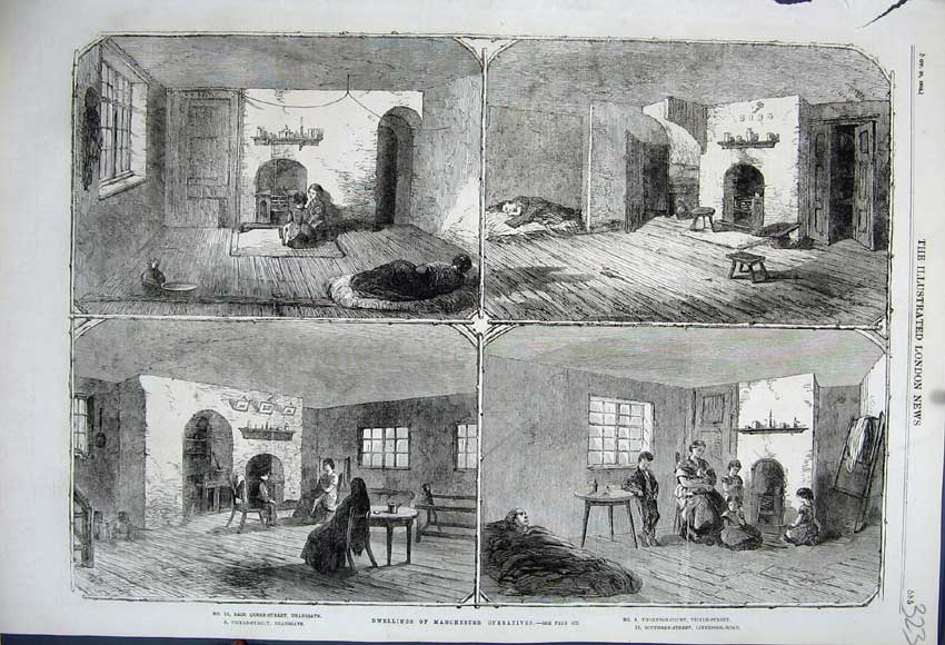 Print 1862 Houses Manchester Operatives Deansgate Liverpool 323N114 Old Original