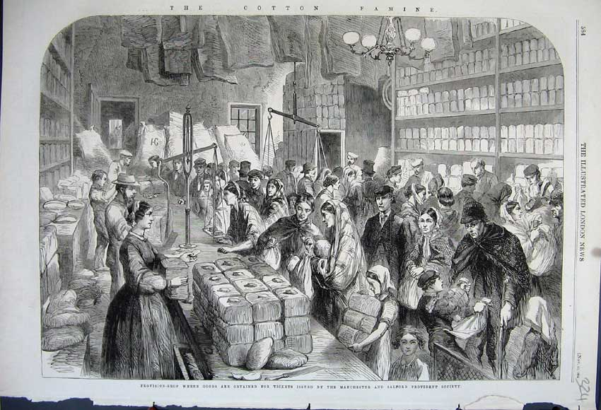 Print 1862 Provision Shop Manchester Salford Provident 324N114 Old Original