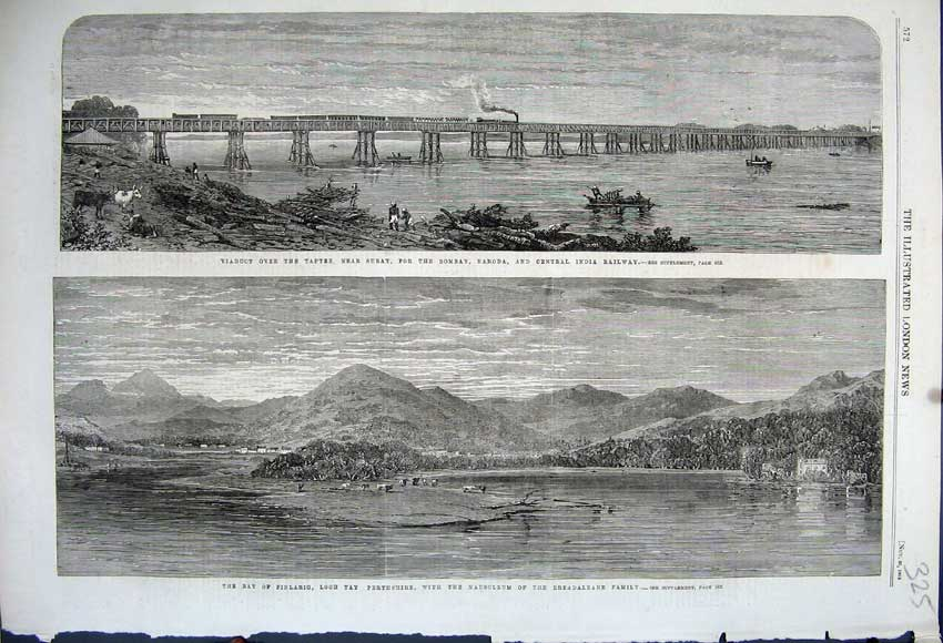 Print 1862 Finlairg Loch Tay Perthshire Viaduct Train India 325N114 Old Original