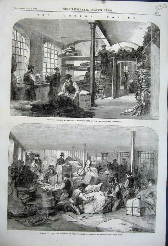 Print 1862 Parcels Clothing Manchester Ctton Famine Hospital 330N114 Old Original