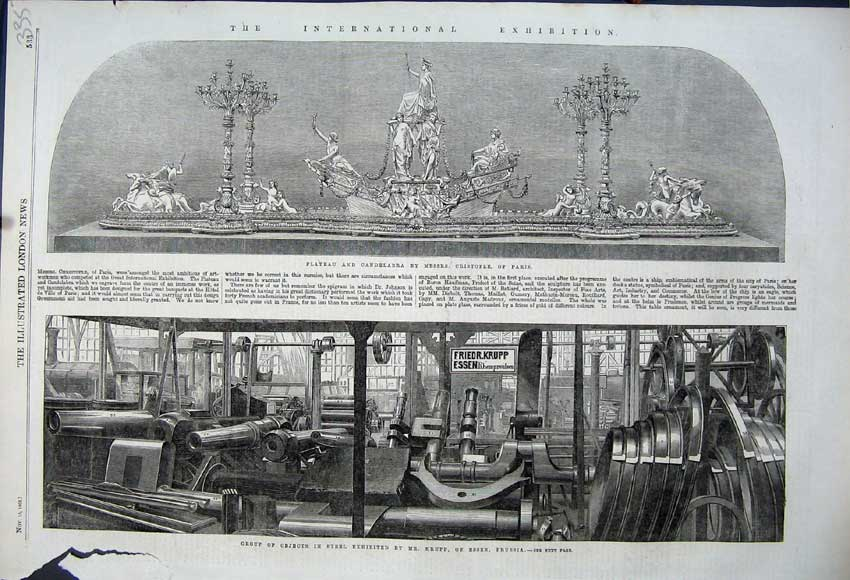 Print 1862 Objects Steel Krupp Prussia Plateau Candelabra 335N114 Old Original