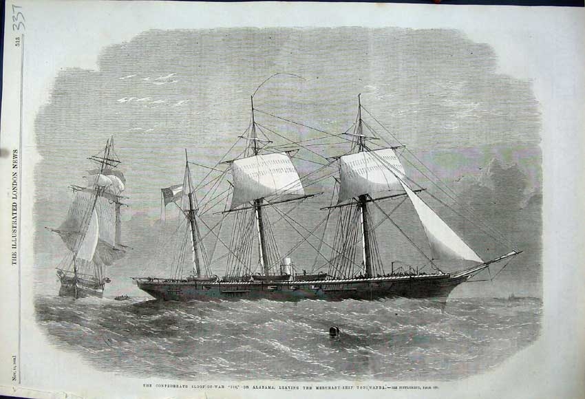Print 1862 Sloop-Of-War Alabama Merchant Ship Tonowanda 337N114 Old Original