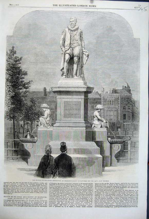 Print 1862 Statue Hugh Myddelton Islington Green John Thomas 345N114 Old Original