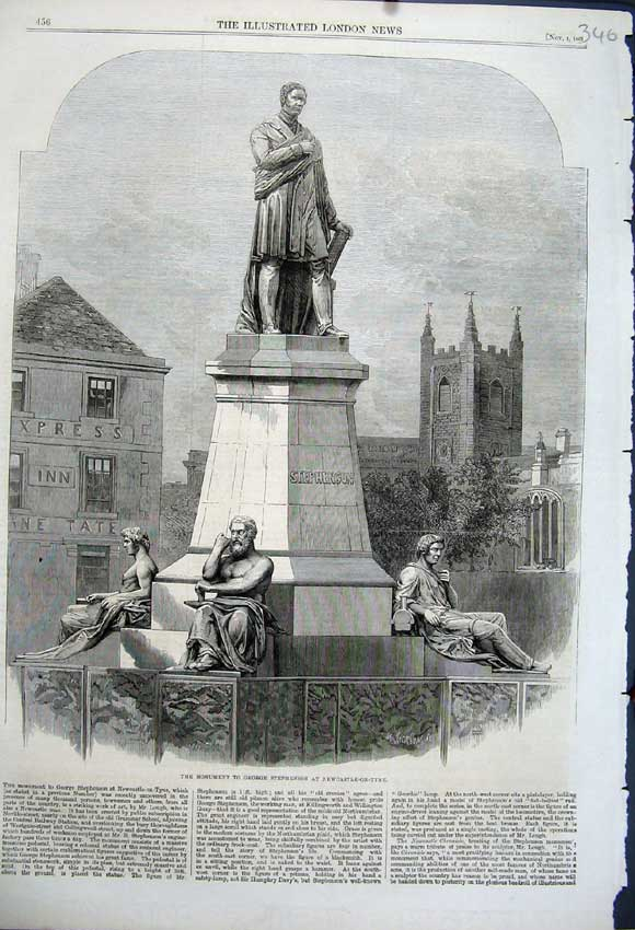 Print 1862 Monument George Stephenson Newcastle-Upon-Tyne 346N114 Old Original
