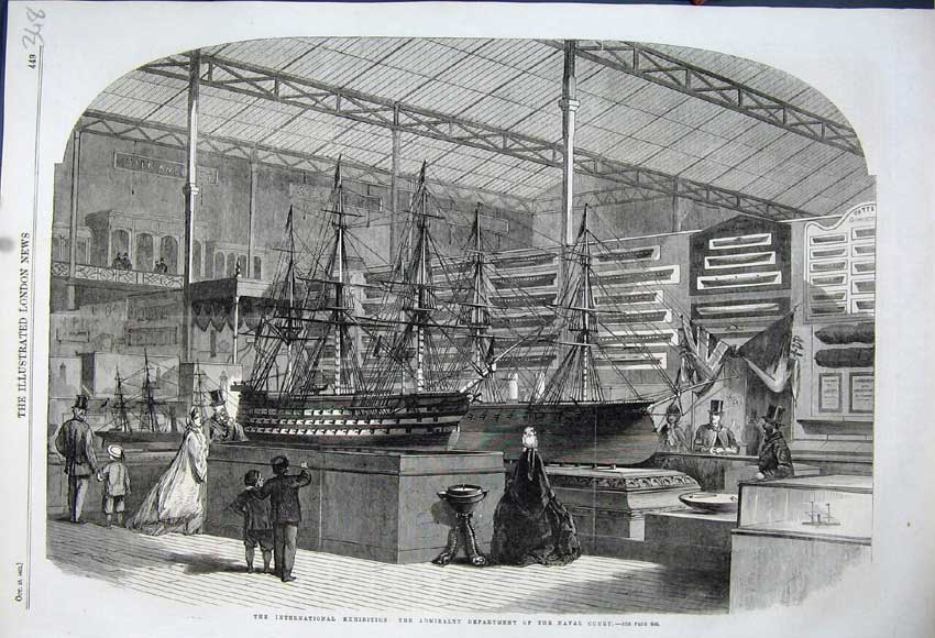 Print 1862 Admirality Department Ships Naval Court Exhibition 348N114 Old Original