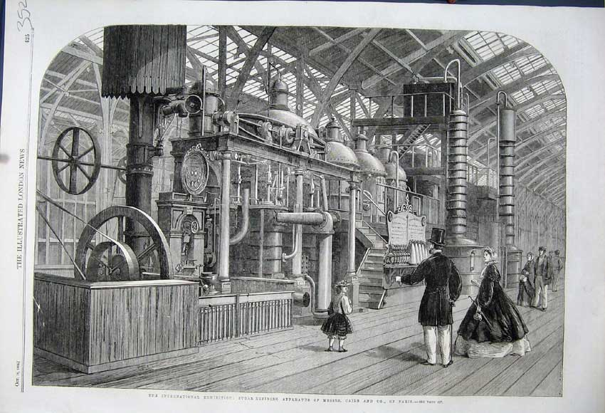 Print 1862 Sugar Refining Apparatus Caile Paris Machinery 352N114 Old Original
