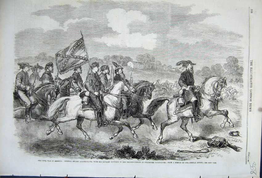 Print 1862 Civil War America General Stuart Cavalry Horses 358N114 Old Original