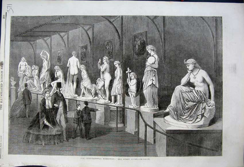 Print 1862 International Exhibition Roman Court Statues 371N114 Old Original