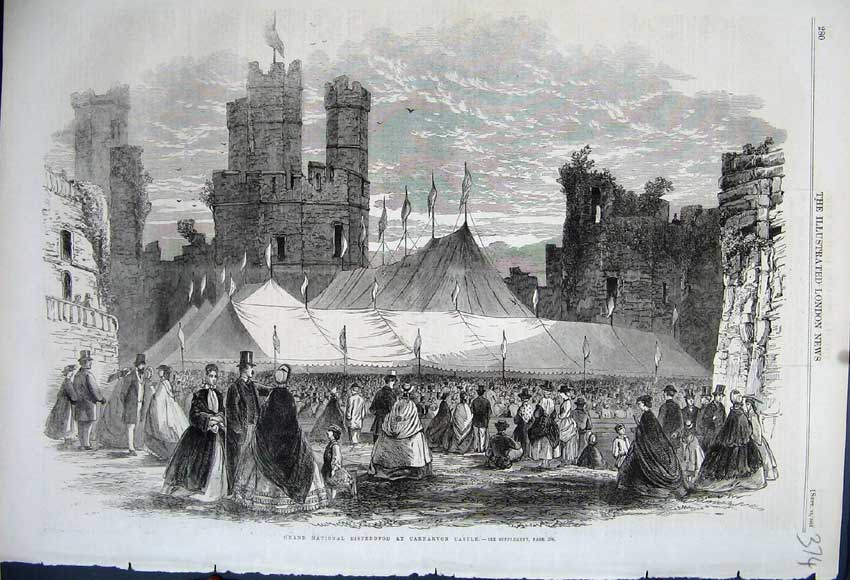 Print 1862 Grand National Eisteddfod Carnarvon Castle Sport 374N114 Old Original