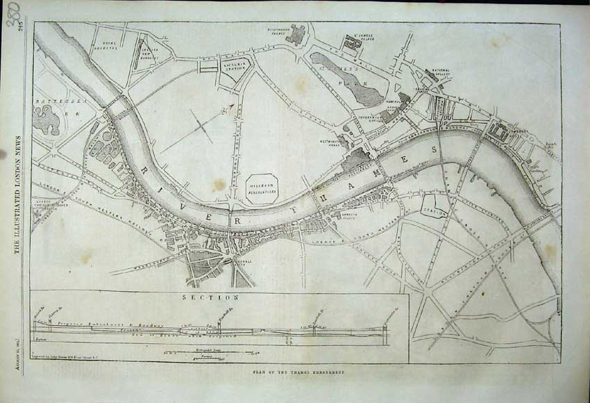 Print 1862 Plan Thames Embankment Piping Bullfinch Case James 380Rn114 Old Original