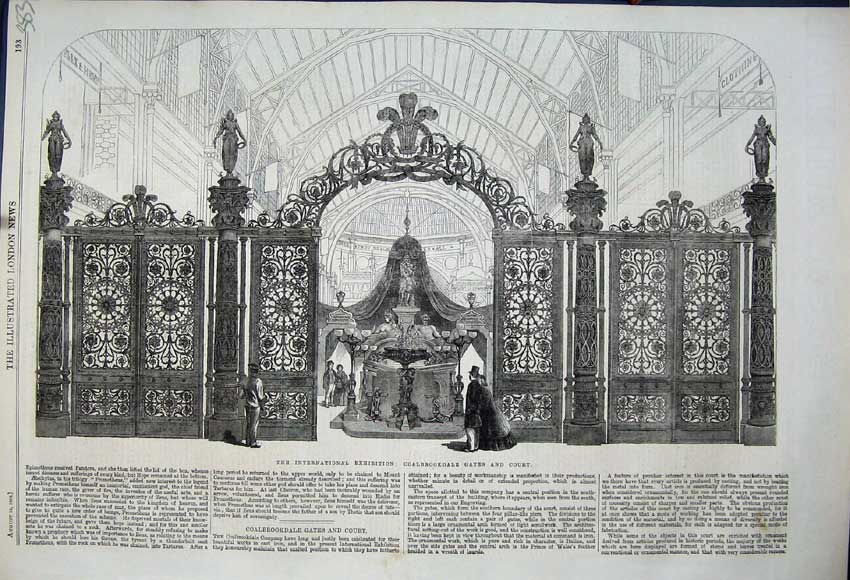 Print 1862 International Exhibition Coalbrookdale Gates Court 383N114 Old Original