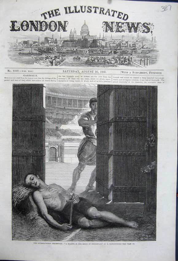 Print 1862 International Exhibition Martyr Diocletian Inured 387N114 Old Original